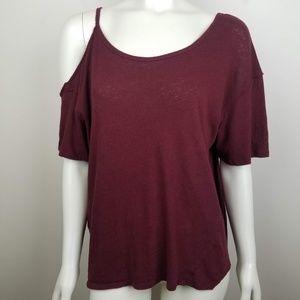 Free People Cold Shoulder Linen Blend Shirt